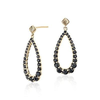 Frances Gadbois Black Sapphire Open Teardrop Earrings in 14k Yellow Gold