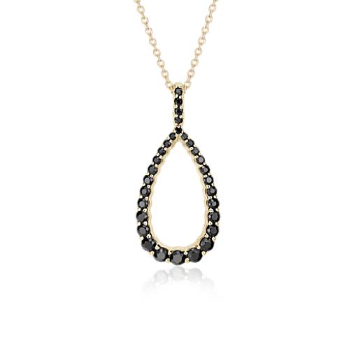 NEW Frances Gadbois Black Sapphire Open Teardrop Pendant in 14k Yellow Gold