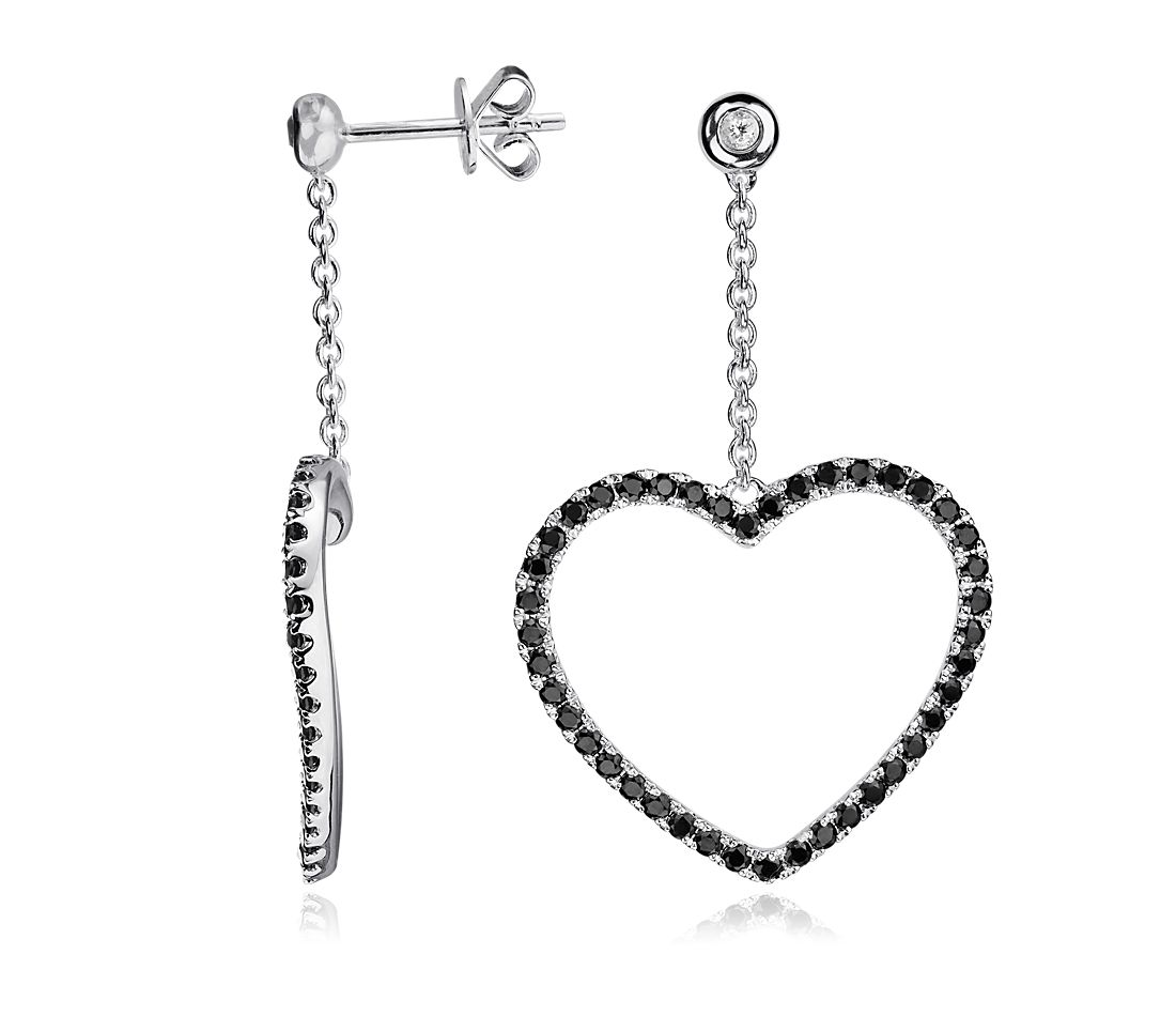 Black Spinel and White Topaz Heart Earrings in Sterling Silver