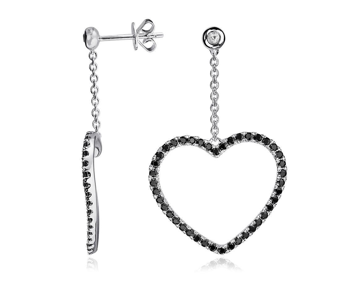 Boucles d'oreilles cœur topaze blanche et spinelle noir en argent sterling