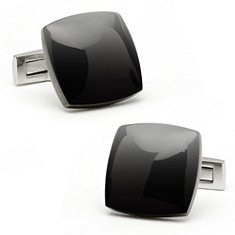 Black Cuff Links in Stainless Steel