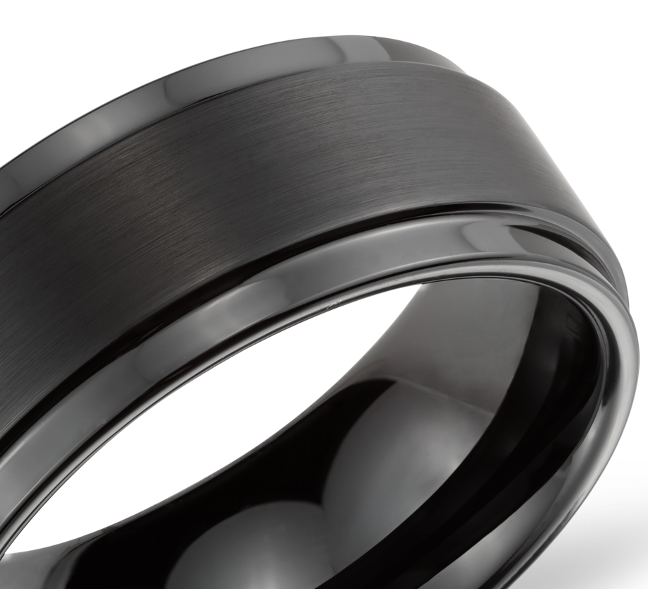 Ridged Edge Wedding Ring in Black Tungsten Carbide (9mm)