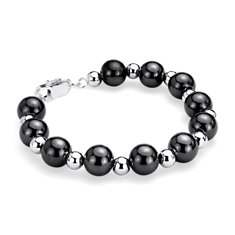 Black and White Bead Bracelet in Sterling Silver