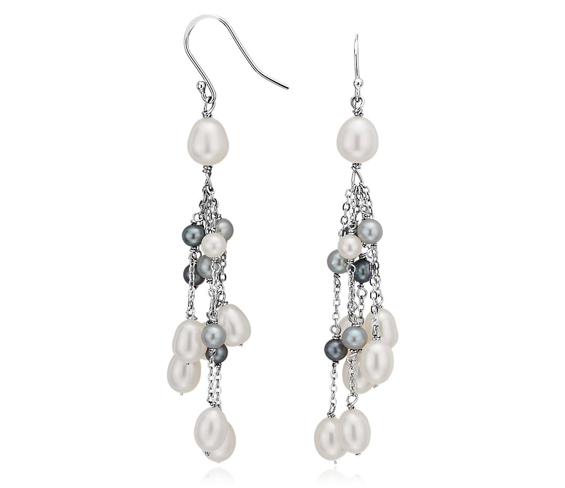 Black and White Freshwater Cultured Pearl Earrings in Sterling Silver