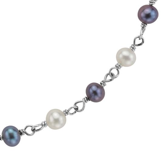 Collier de perles de culture d'eau douce noire et blanche en argent sterling - 36