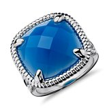 Bague cocktail agate bleue en Argent sterling