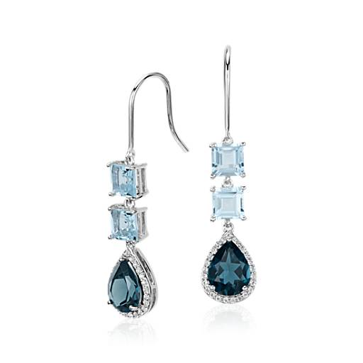 Blue Topaz and London Blue Topaz Teardrop Earrings in Sterling Silver