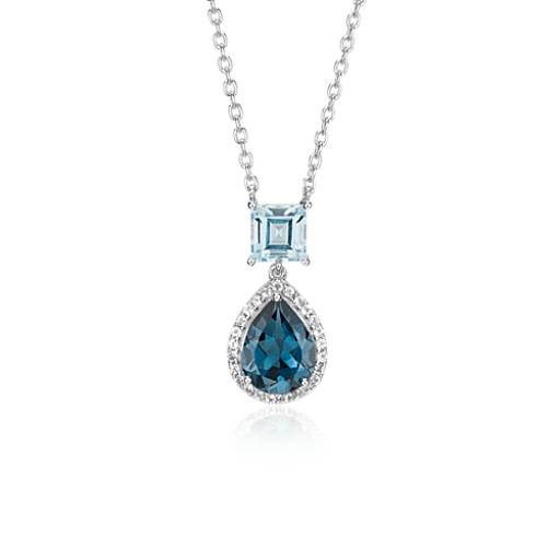 Blue Topaz and London Blue Topaz Teardrop Pendant in Sterling Silver