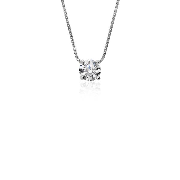 Colgante con solitario de diamante flotante exclusivo de Blue Nile en platino (.60 ct. tw.)