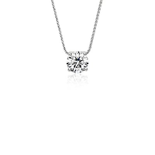 Colgante con solitario de diamante flotante exclusivo de Blue Nile en platino (1,75 qt. total)