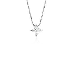 Blue Nile Signature Princess Cut Floating Diamond Solitaire Pendant in Platinum (0.75 ct. tw.)