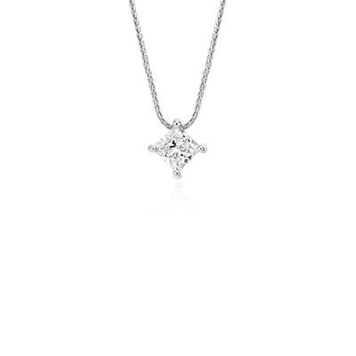 Colgante con solitario de diamante flotante talla princesa exclusivo de Blue Nile en platino (0,75 qt. total)
