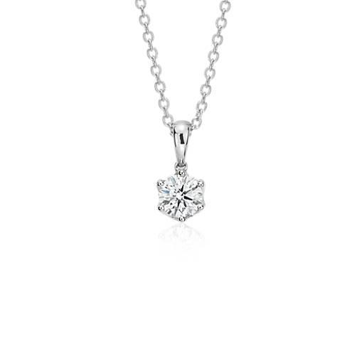Pendentif diamant à six griffes Signature Blue Nile en platine (1carat, poids total)