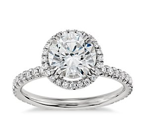 Blue Nile Studio Heiress Halo Diamond Engagement Ring in Platinum (2/5 ct. tw.)
