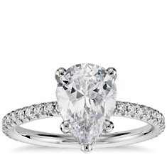 Blue Nile Studio Pear Shaped Petite French Pave Crown Diamond Engagement Ring in Platinum
