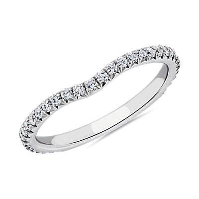 NEW Blue Nile Studio Petite Crown Curved Diamond Ring in Platinum (1/3 ct. tw.)