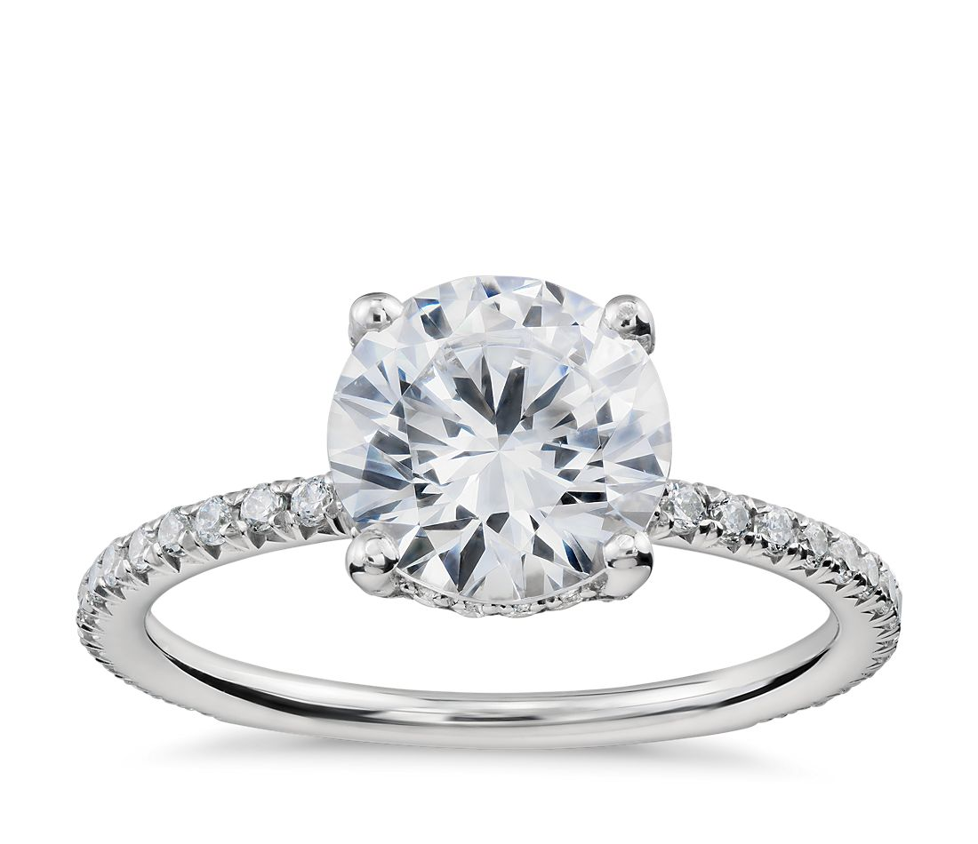Blue Nile Studio Petite French Pav Crown Diamond Engagement Ring In Platinum