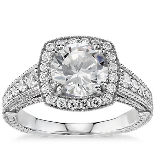 Blue Nile Studio East-West Oval Halo Diamond Engagement ... - photo #12