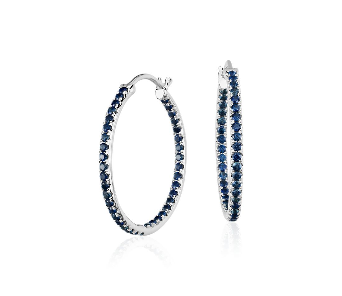 Riviera Sapphire Hoop Earrings in 14k White Gold