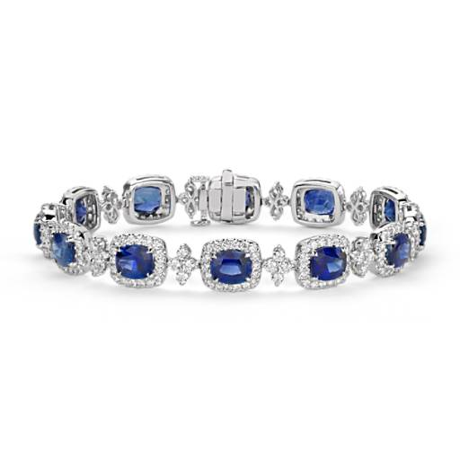 Bracelet halo de diamants et saphir bleu coussin en or blanc 18 carats (6,5 x 5,5 mm)