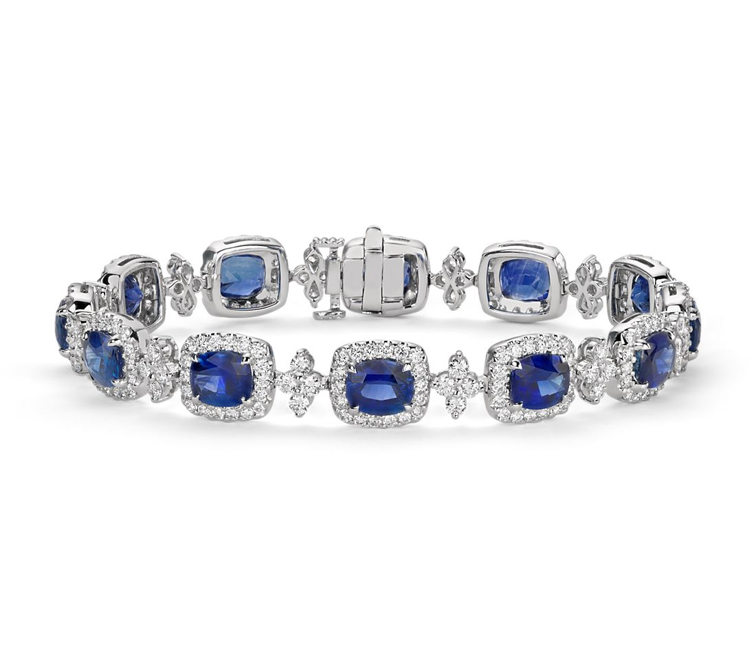 Cushion Blue Sapphire And Halo Diamond Bracelet In 18k White Gold 65x55mm