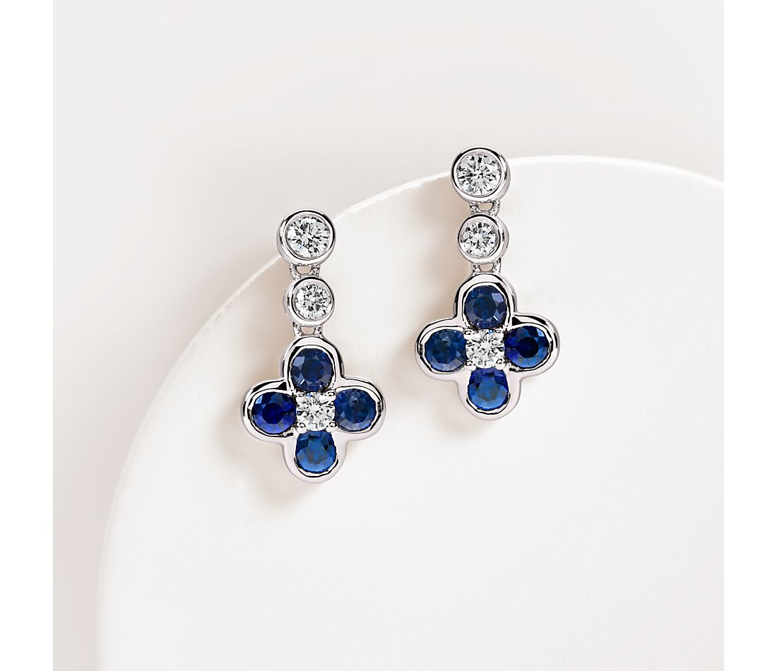 Blue Nile Studio Something Blue, Sapphire & Diamond Floral Drop Earring in 18k White Gold (2.7mm)