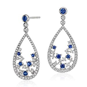 Blue Nile Studio Something Blue, Sapphire & Diamond Floral Teardrop Earring in 18k White Gold