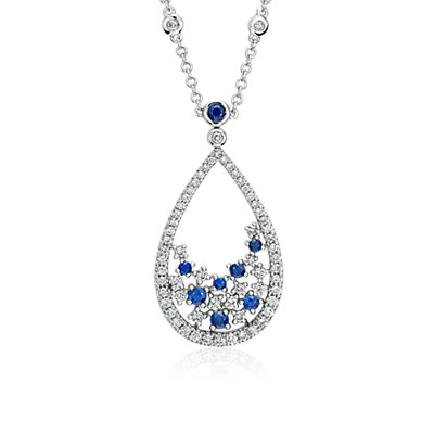 Blue Nile Studio Something Blue, Sapphire & Diamond Floral Teardrop Necklace in 18k White Gold