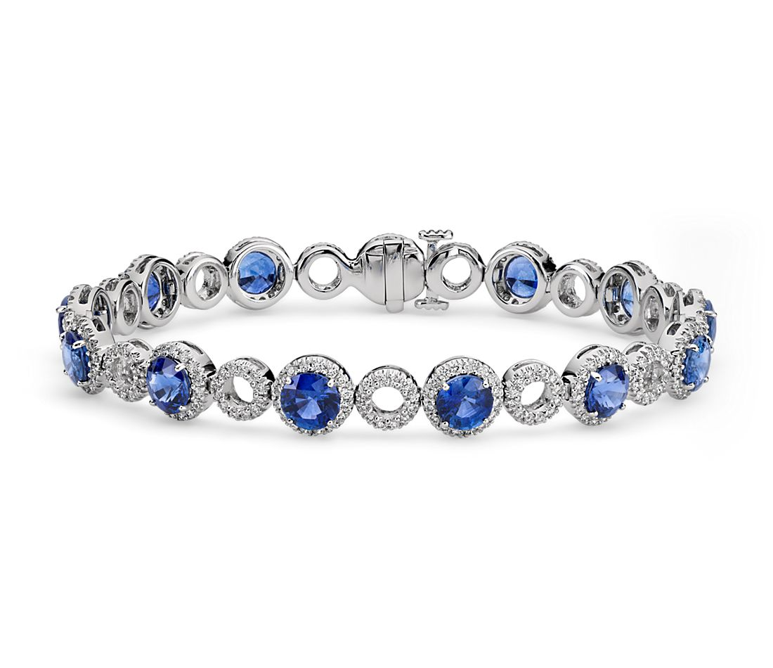 Blue Sapphire and Open Circle Pavé Diamond Bracelet in 18k White Gold
