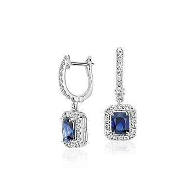 Radiant Sapphire and Diamond Dangle Earrings in 14k White Gold (5x4mm)
