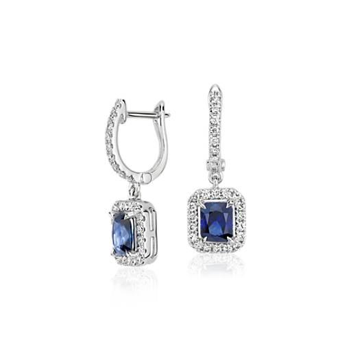 Aretes colgantes con zafiros y diamantes de talla radiante en oro blanco de 14k (5x4mm)