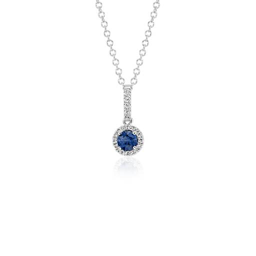 Sapphire and Diamond Drop Pendant in 14k White Gold