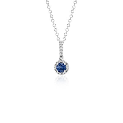 Sapphire and Diamond Drop Pendant in 14k White Gold (4mm)
