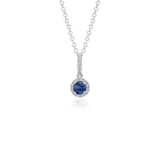 Colgante de diamantes y zafiros en forma de gota en oro blanco de 14k (4mm)
