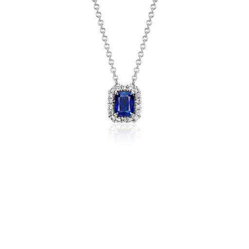 Radiant Sapphire and Diamond Pendant in 14k White Gold (5x4mm)