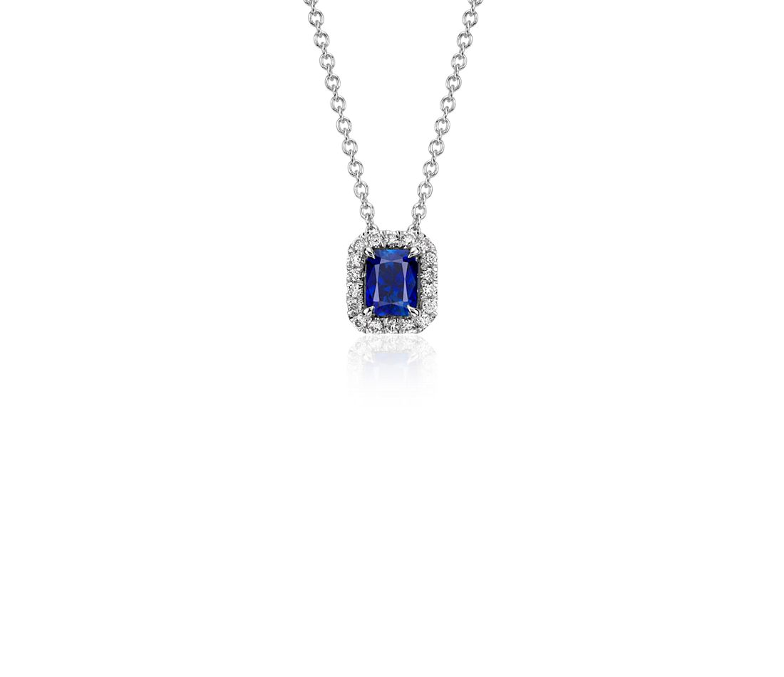 Radiant Sapphire and Diamond Pendant in 14k White Gold