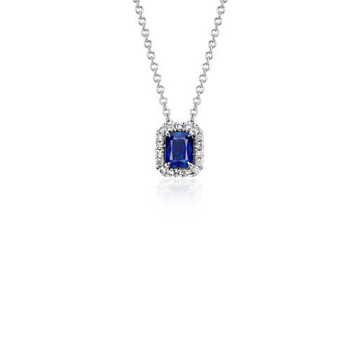 Pendentif diamant et saphir radiant en or blanc 14carats (5x4mm)