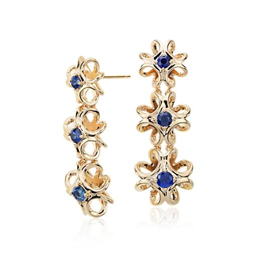 NEW Colin Cowie Sapphire Drop Earring in 14k Yellow Gold