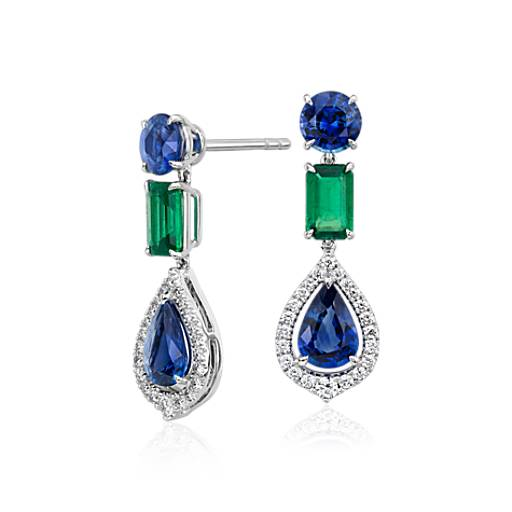 NEW Sapphire and Emerald Diamond Halo Drop Earrings in 18k White Gold