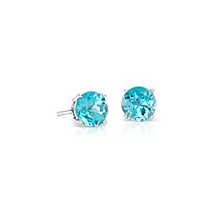NEW Blue Topaz Stud Earrings in 14k White Gold (7mm)