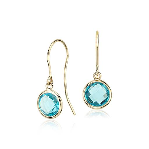 Blue Topaz Solitaire Earrings in 14k Yellow Gold (7mm)