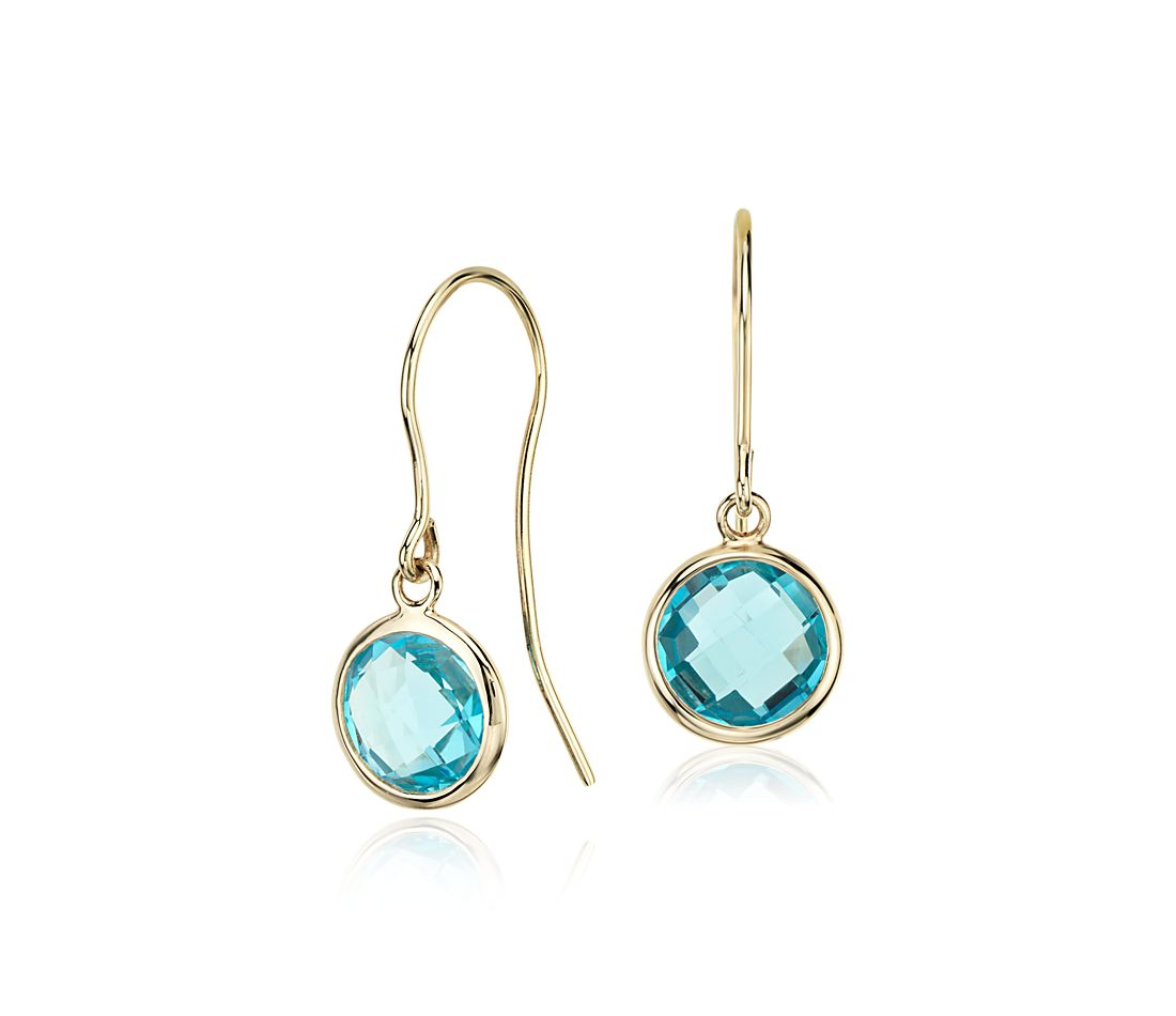 Blue Topaz Solitaire Earrings in 14k Yellow Gold
