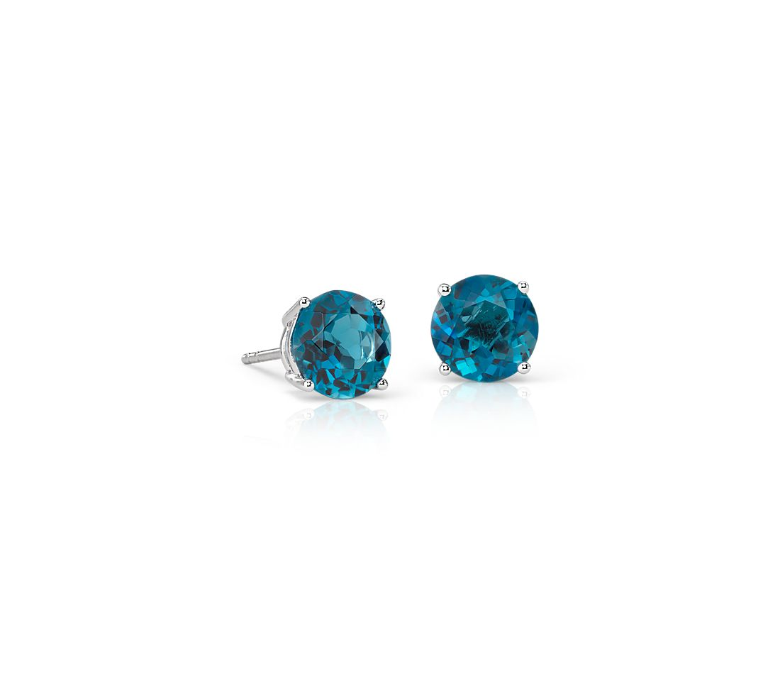 London Blue Topaz Stud Earrings in 18k White Gold (7mm)