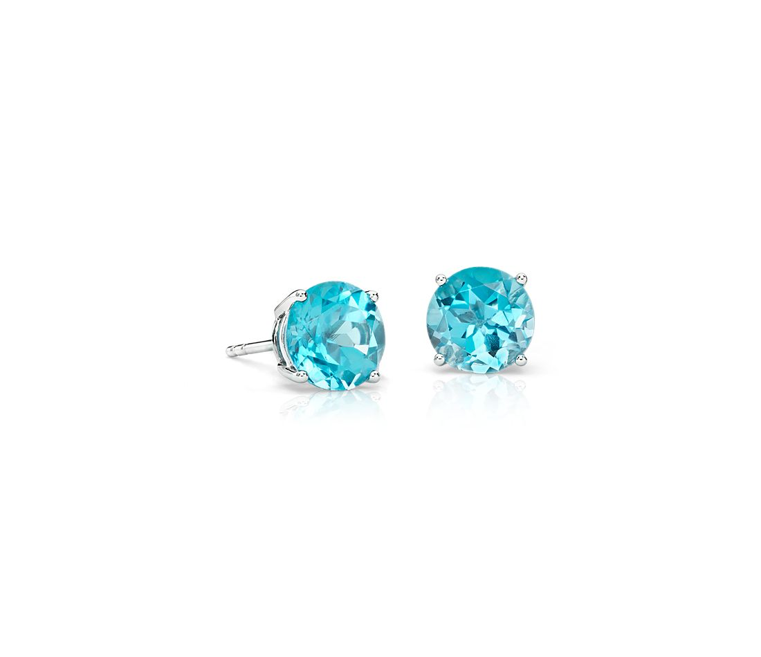 earrings bezel topaz round facet blue stud birthstone silver december sterling