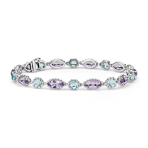 Blue Topaz and Amethyst Bracelet in 14k White Gold (8x4mm)