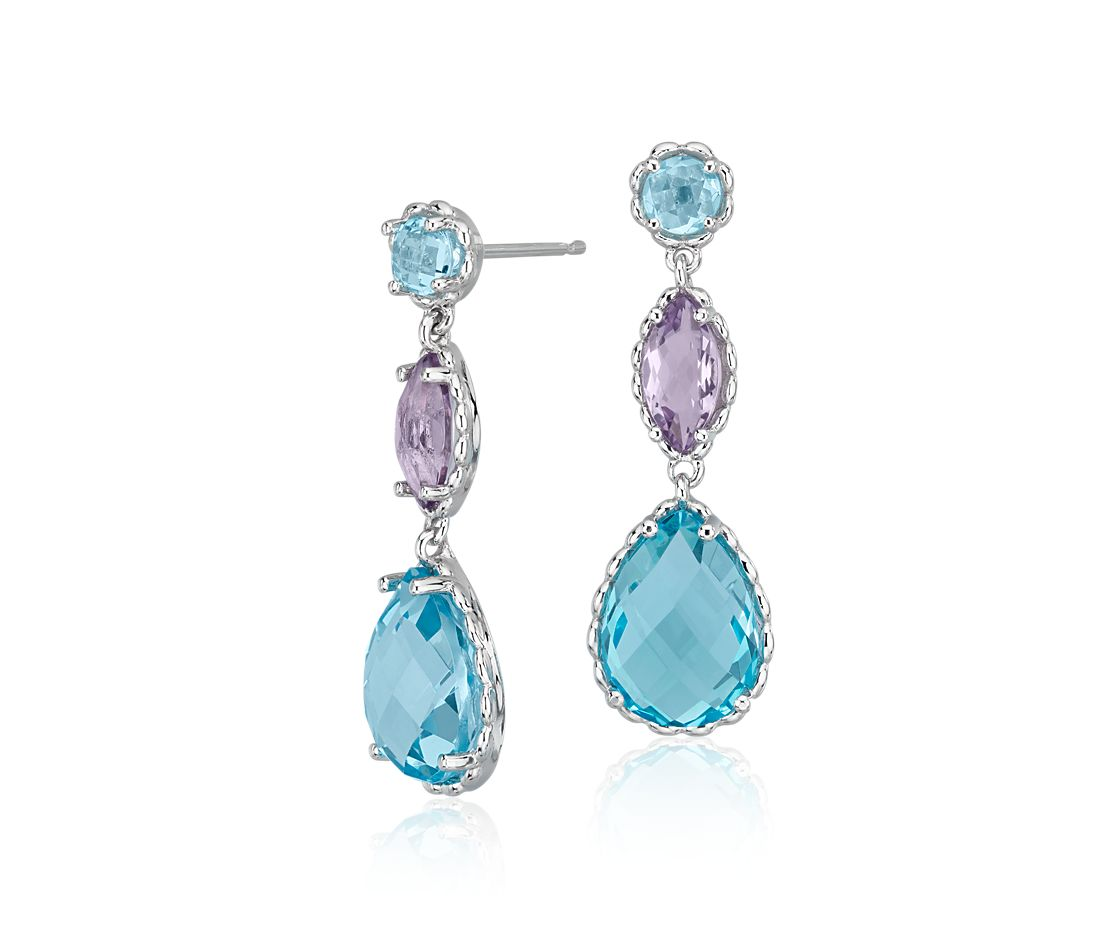 Blue Topaz and Amethyst Drop Earrings in 14k White Gold
