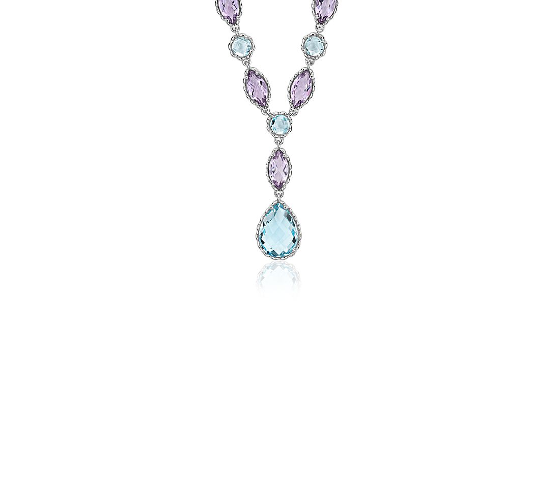 Blue Topaz and Amethyst Necklace in 14k White Gold