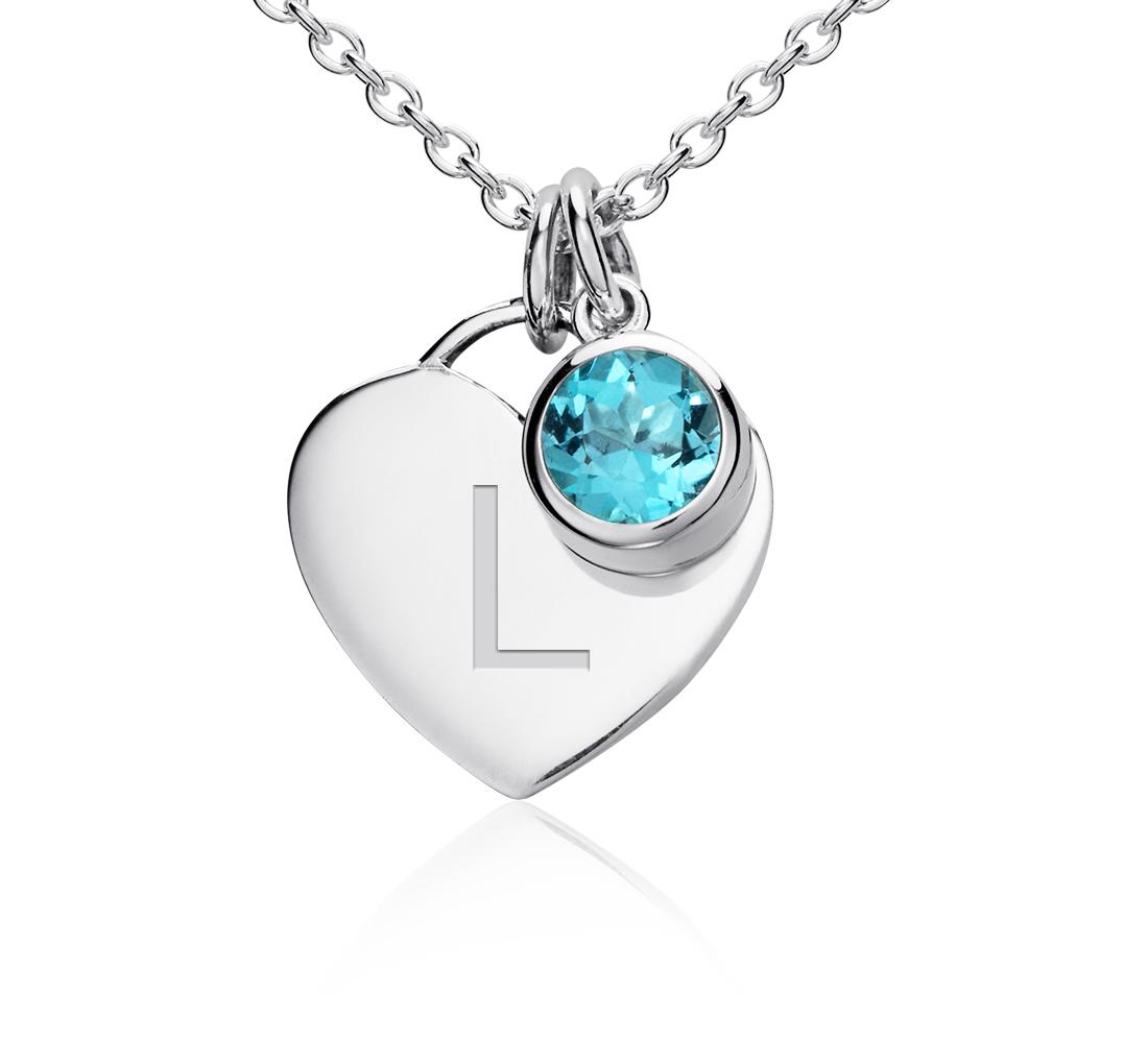 Pendentif cœur pierre d'anniversaire topaze bleue en argent sterling (Décembre)<br>(4,5mm)