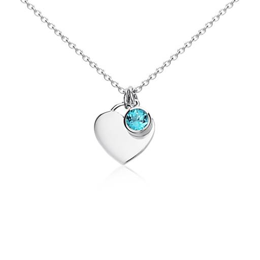 Blue Topaz Birthstone Heart Pendant in Sterling Silver (December) (4.5mm)