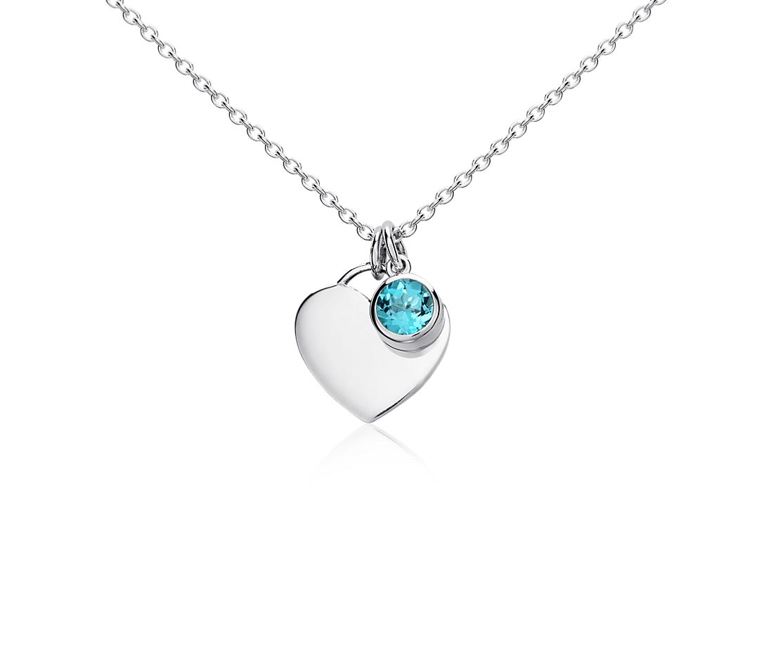 Blue Topaz Birthstone Heart Pendant in Sterling Silver (December)